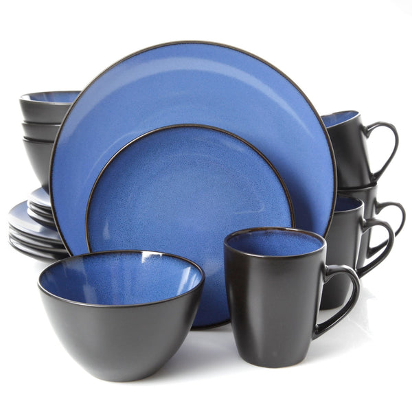 Gibson Home Soho Round 16 Piece Dinnerware Set, Blue/Black