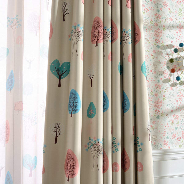 Melodieux Cartoon Trees Room Darkening Blackout Curtains for Kids Room Nursery Grommet Top Drapes, 52