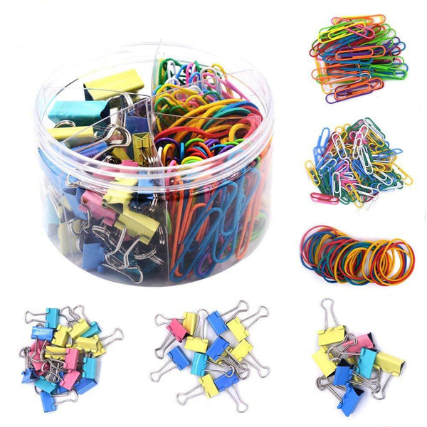 Tueascallk Assorted Clamps, Dovetail Clip, Paper Clip, Binder, Rubber Band, Office Supplies Classification Kit, 240 Pcs