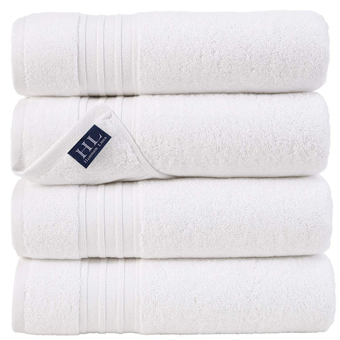 Hammam Linen Ultra Soft Turkish Bath Towels - (27 x 54 inches) - 4 Pieces Towel Set - 100% Cotton Towels (White)