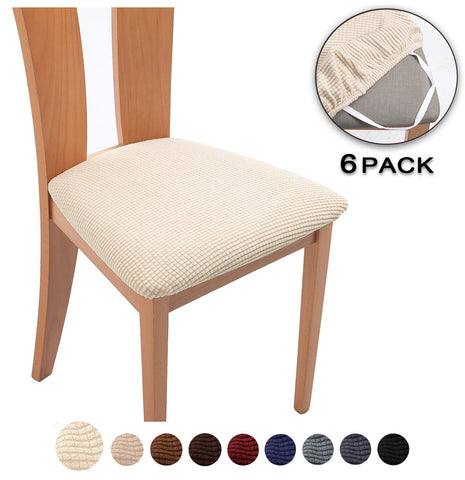 TIANSHU Spandex Jacquard Dining Room Chair Seat Covers,Removable Washable Elastic Cushion Covers For Upholstered Dining Chair (6 Pack, Beige)
