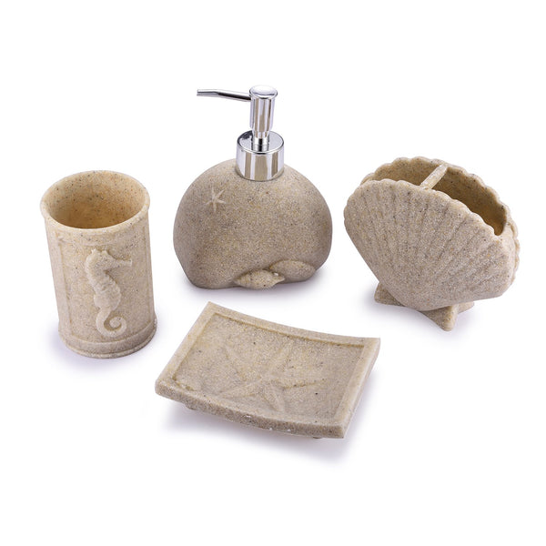 TTOYOUU 4pcs Bath Accessory Set, Stone Textured Shell Design Resin Soap Dish, Soap Dispenser,Toothbrush Holder & Tumbler Bath Ensemble Bathroom Accessory Collection Set