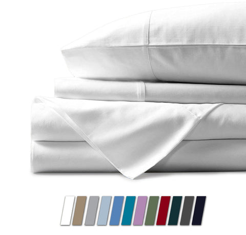 Mayfair Linen 1000 Thread Count Best Bed Sheets 100% Egyptian Cotton Sheets Set - White Long-Staple Cotton King Sheet for Bed, Fits Mattress Upto 18'' Deep Pocket, Soft & Silky Sateen Weave Sheets