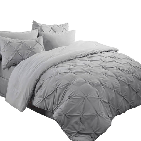 Bedsure 8 Pieces Pinch Pleat Down Alternative Comforter Set Queen Size (88X88 inches) Solid Grey Bed in A Bag (Comforter, 2 Pillow Shams, Flat Sheet, Fitted Sheet, Bed Skirt, 2 Pillowcases)