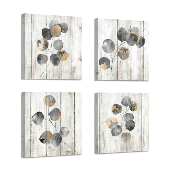 Leaf Artwork Botanical Canvas Print: Gray Leaves Painting Wall Art for Bathroom (12'' x 12'' x 4 Panels)