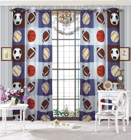 Mk Collection Boys Sport Football Basketball Baseball New 2 Panel Curtain