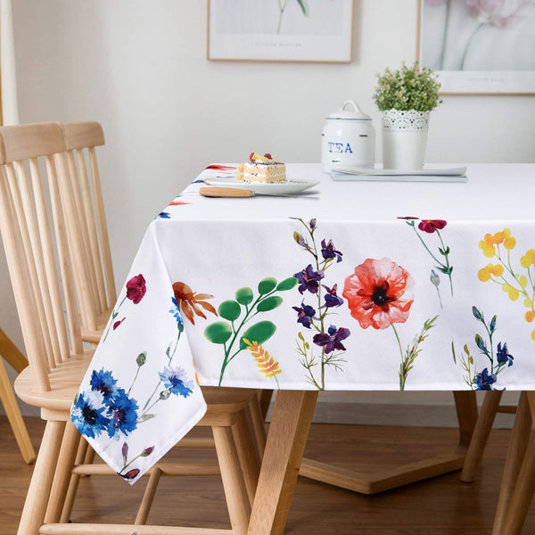 Ice jazz Wild Flowers Tablecloth Waterproof Oil-Proof Spill-Proof Table Cover for Indoor Outdoor Kitchen Dinning Tabletop Picnic Holiday Parties