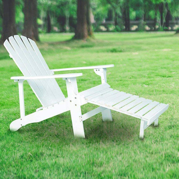 Rimiking Outdoor Foldable Wooden Reclining Chair, Adirondack Chair, Patio Lounge Chair with Pullout Ottoman