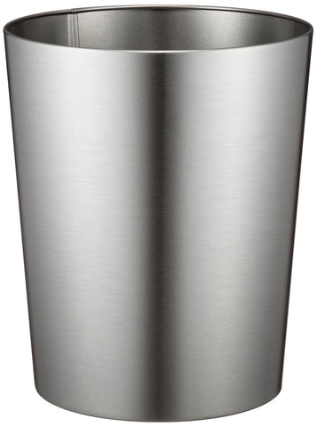 iDesign Patton Round Metal Trash Can, Waste Basket Garbage Can for Bathroom, Bedroom, Home Office, Dorm, College, 8