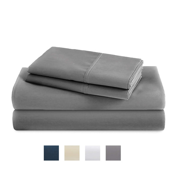 TRIDENT Queen Sheets, 400 Thread Count Sheet Set, 100% Cotton Sateen Weave, Moisture Wicking, Wrinkle Resistant, 4 Piece Sheet Set, Techno-fit, Soft, Air Rich Technology (Wet Weather, Queen)