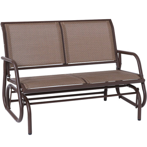 Outdoor Swing Glider Chair, Superjare Patio Bench for 2 Person, Garden Rocking Seating - Brown
