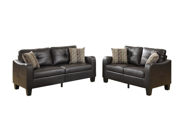 Poundex Bobkona Spencer Bonded Leather 2Piece Sofa & Loveseat Set in Espresso