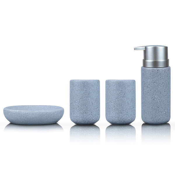 Fimary Grey Bathroom Accessories Set Complete - Bathroom Sets Including 4 Piece Ceramic Bathroom Accessory Set Soap Dispenser, Toothbrush Holder, Tumbler, Soap Dish