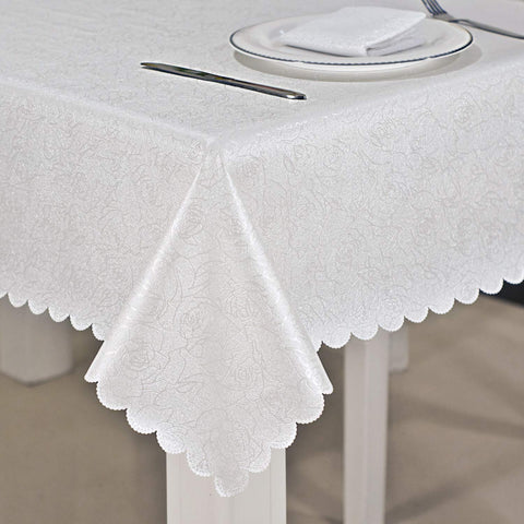 Ciyumi White Tablecloth, Stain Resistant Waterproof Table Cloth Dining Table Cover PU Fabric, for Everyday Use, Picnic and Parties (54