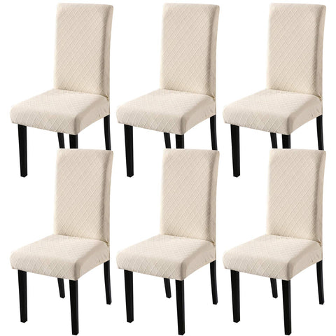 YISUN Dining Chair Covers, Stretch Removable Washable Dining Chair Protector Cover Seat Slipcover for Hotel, Dining Room, Ceremony, Banquet Wedding Party (6, Beige)