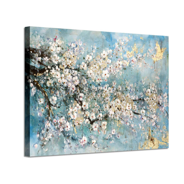 Abstract Canvas Painting Flower Picture: Blue Floral Wall Art on Canvas for Office (36'' x 24'' x 1 Panel)