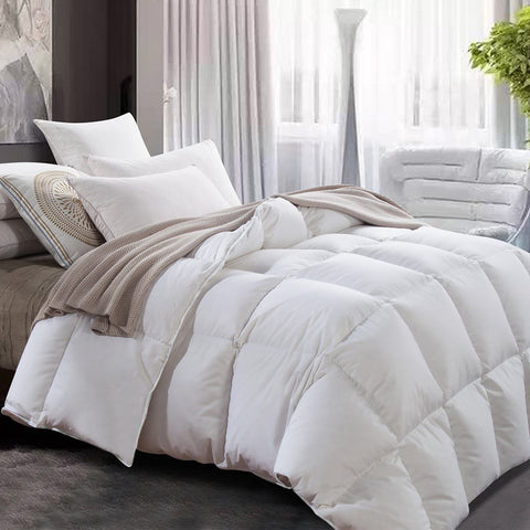 ROYALAY Luxurious All-Seasons White Goose Down Comforter-Solid, Lightweight Hypoallergenic,Corner Duvet Tabs, 600 Thread Count 600FP 100% Cotton Cover (King)