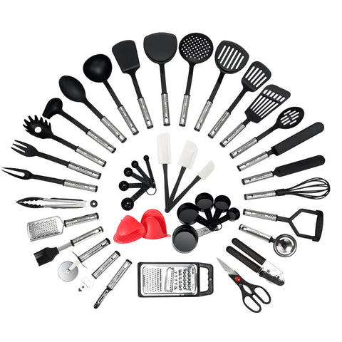 NEXGADGET Kitchen Utensil Set - 42-Piece Cooking Utensils - Nylon and Stainless Steel Utensil set - Nonstick Kitchen Utensils Spatula Set - Complete Cooking Tool set - Best Kitchen Gadgets for Gift