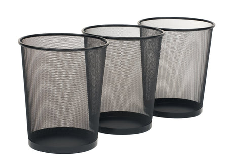 Seville Classics 3-Pack Round Mesh Wastebasket Recycling Bin, 6 Gal, 12