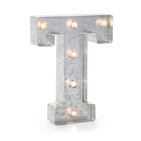 Silver Metal Marquee Letter- T -Vintage-Style Lighted Marquee Letter with On/Off Switch, Ideal for Weddings, Special Events, and Room Décor, Galvanized Metal Finish, 9.87
