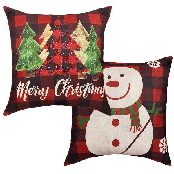 MKLFBT Pack of 2 Christmas Tree and Snow Throw Pillow Covers 18 x 18 Red Black Buffalo Check Plaid Cushion Cover Farmhouse Home Decor Xmas Linen Pillowcase for Sofa Couch Living Room