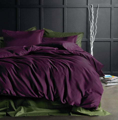 Solid Color Egyptian Cotton Duvet Cover Luxury Bedding Set High Thread Count Long Staple Sateen Weave Silky Soft Breathable Pima Quality Bed Linen (Queen, Deep Plum)