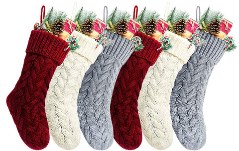 Kunyida 14 Inches Burgundy, Ivory, Gray Knitted Christmas Stockings,6 Pack