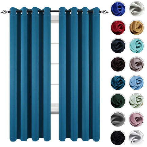KEQIAOSUOCAI 2 Pack Teal Blackout Window Curtains Panels Room Darkening Window Treatment Thermal Insulated Grommet Top Curtain Drapes for Kids Room Living Room 52 Inches Wide by 84 Inches Long
