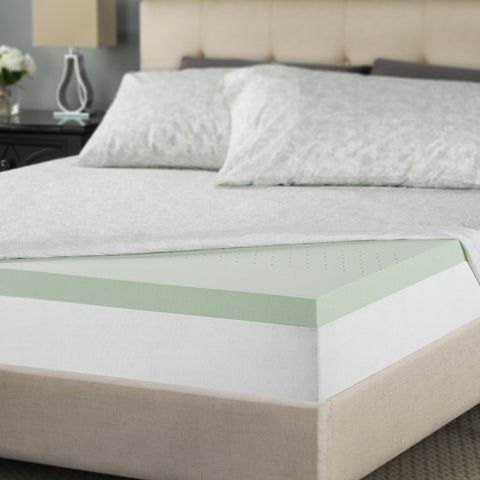 Zinus 2 Inch Green Tea Memory Foam Mattress Topper, Full