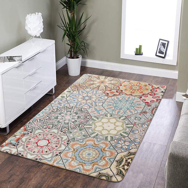LEEVAN Faux Wool Area Rug Traditional Rectangle Throw Runner Rug Non-Slip Backing Soft Wool Floor Carpet for Sofa Living Room Bedroom Modern Accent Home Decor