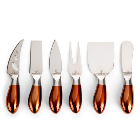 Elegant Cheese Knives Stainless Steel - Set of 6 Cheese Knives Spreaders with Rose Gold Handles | 6-Pieces Cheese Spreading Knife Sets for Charcuterie Boards, Cutlery Gift Set