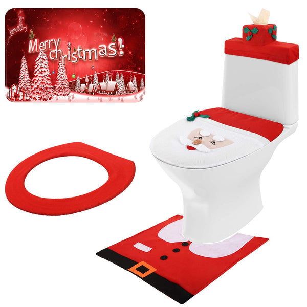 Mudder 3D Nose Santa Toilet Seat Cover Set Christmas Toilet Cover Decorations Xmas Bathroom Decorations for Christmas Holiday Home Decor, 5 Pieces Totally