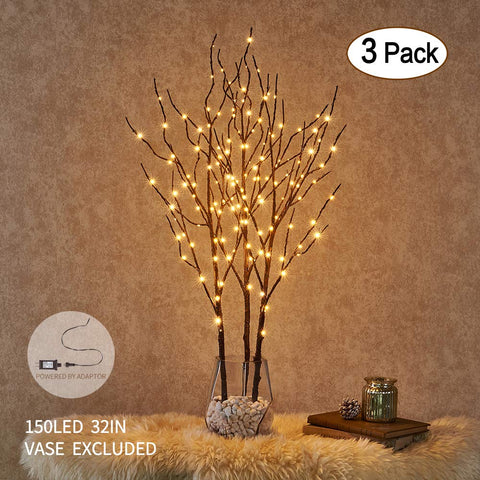 Hairui Pre Lit Artificial Brown Twig Branch with Fairy Lights 32in 150 LED Plug in Lighted Willow Branch for Christmas Home Decoration Indoor Outdoor Use 3 Pack (Vase Excluded)