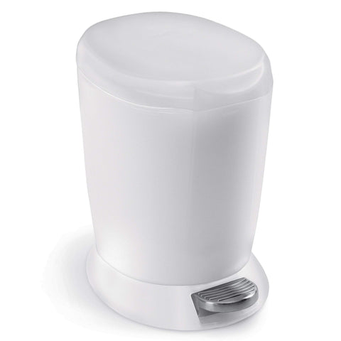 simplehuman 6 Liter / 1.6 Gallon Compact Plastic Round Bathroom Step Trash Can, White Plastic