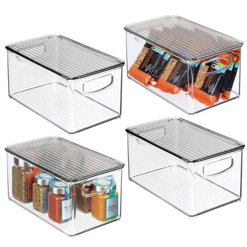 mDesign Plastic Stackable Kitchen Pantry Cabinet, Refrigerator, Freezer Food Storage Bin Box with Handles, Lid - Organizer for Fruit, Yogurt, Snacks, Pasta - 10