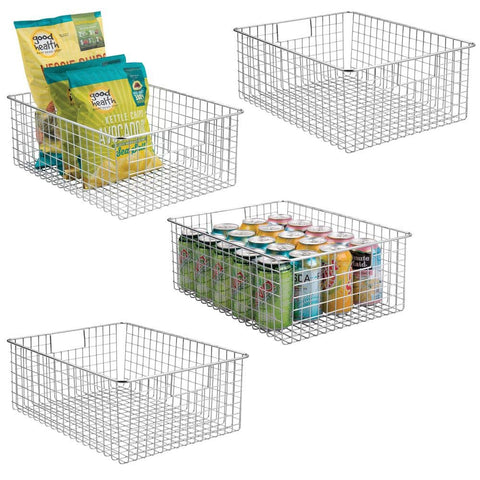 mDesign Farmhouse Decor Metal Wire Food Organizer Storage Bin Baskets with Handles for Kitchen Cabinets, Pantry, Bathroom, Laundry Room, Closets, Garage - 4 Pack - Chrome