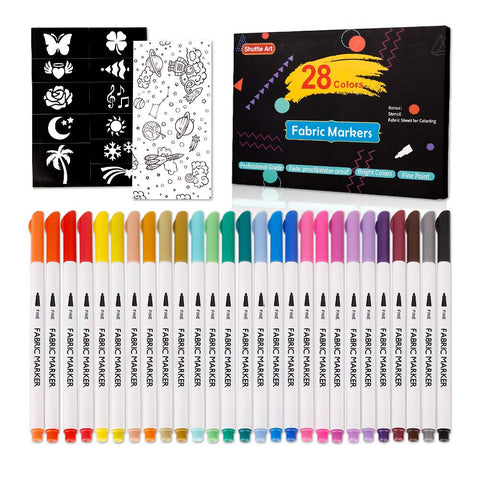 28 Colors Fabric Markers, Shuttle Art Fabric Markers Permanent Markers for T-Shirts Clothes Sneakers Jeans with 11 Stencils 1 Fabric Sheet,Permanent Fabric Pens for Kids Adult Painting Writing