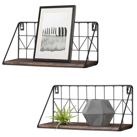 Mkono 2 Set Floating Shelves Wall Mounted Rustic Metal Wire Storage Shelves for Picture Frames, Collectibles, Decorative Items, Great for Living Room, Office, Bedroom, Bathroom, Kitchen, 11.5 Inches