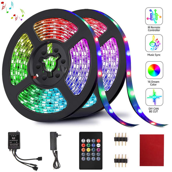 LED Strip Lights, HRDJ Light Strip RGB 32.8FT/10M 20Key, Music Sync Color Changing, Rope Light 600 SMD 3528 LED, IR Remote Controller Flexible Strip for Home Party Bedroom DIY Party Indoor Outdoor