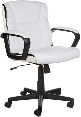 AmazonBasics Classic Leather-Padded Mid-Back Office Computer Desk Chair with Armrest - White, BIFMA Certified