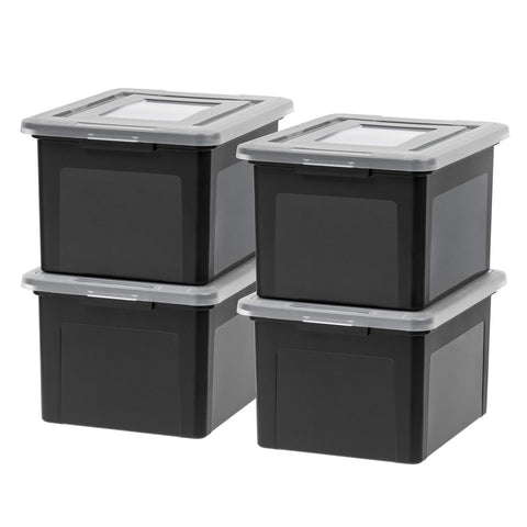 IRIS USA, Inc. FB-21EE Letter and Legal Size File Box, Medium, Black, 4 Pack