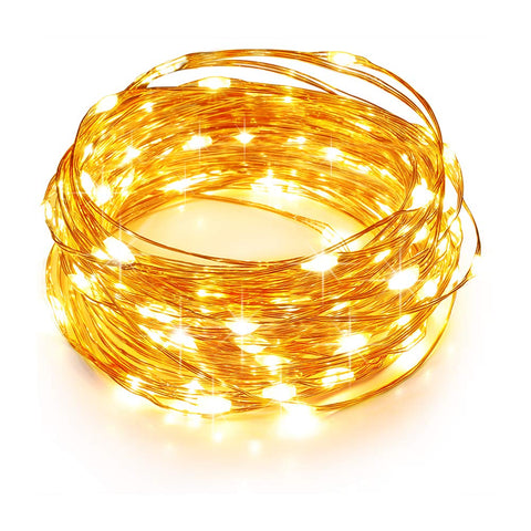 TaoTronics LED String Lights 33ft with 100 LEDs, Waterproof Outdoor & Indoor Decorative Lights for Bedroom, Garden, Patio, Parties. UL588 and TUVus Approved ( Copper Wire Lights, Warm White )