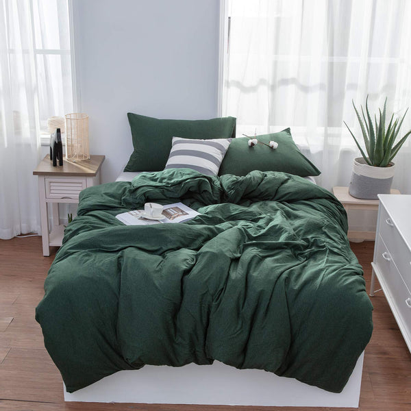 LIFETOWN Green Duvet Cover, Jersey Knit Cotton Duvet Cover Queen, 1 Duvet Cover and 2 Pillowcases, Super Soft and Easy Care (Full/Queen, Dark Green)