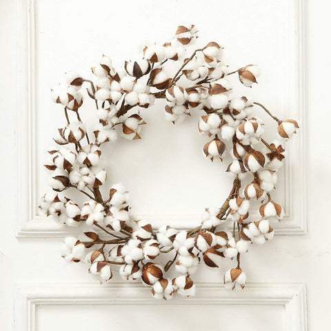 24 Inch Real Cotton Wreath Farmhouse Decor Christmas Vintage Wreath