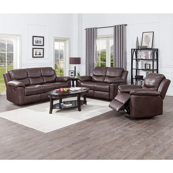 JUNTOSO 3 Pieces Recliner Sofa Sets Bonded Leather Lounge Chair Loveseat Reclining Couch for Living Room - Chocolate