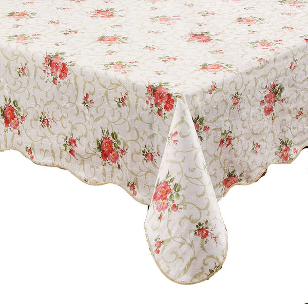 Artisan Flair AF5472-094Red Flower Flannel Backed Vinyl Tablecloth Waterproof Oblong(rectangle)-54