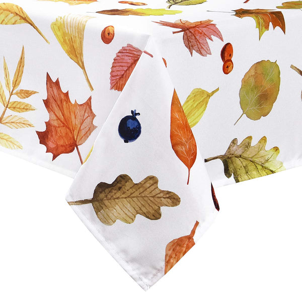 Sunm Boutique Table Cloth Autumn Leaves and Thanksgiving Tablecloth Waterproof Machine Washable Table Cover for Dinner Parties Holiday Thanksgiving Gift(Cream, 55 × 55 Inches)
