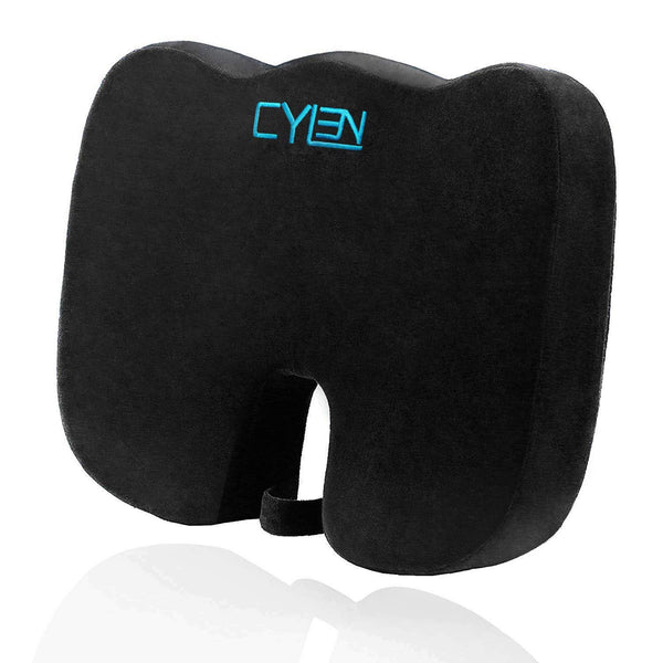 CYLEN Home-Memory Foam Bamboo Charcoal Infused Ventilated Orthopedic Seat Cushion for Car and Wheelchair - Washable & Breathable Cover (Black)