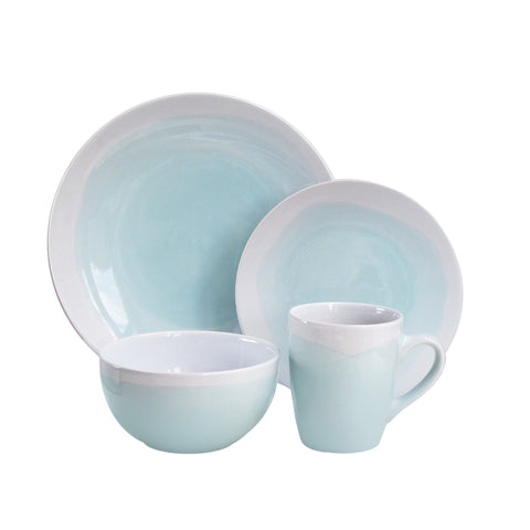 American Atelier Oasis Dinnerware Set (16 Piece), Mint/White