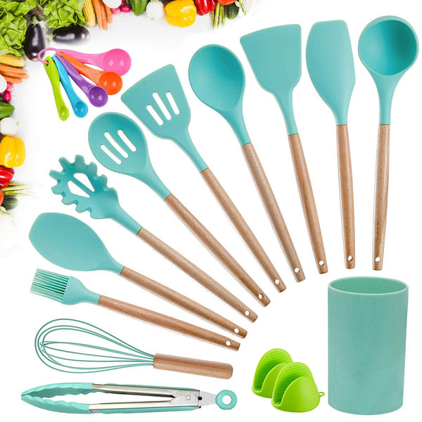 Kitchen Utensil Set Silicone Cooking Utensils, CROSDE 15pcs Kitchen Utensils Set Tools Wooden Handles Spatula Set Cookware Turner Tongs Spatula Spoon Kitchen Gadgets with Holder - Teal
